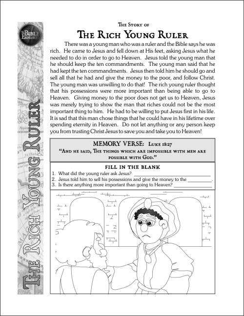the rich young ruler coloring page - 09 bible explored curriculum nt stories mercy truth
