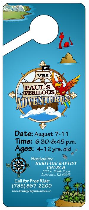 Paul's Perilous Adventures Door Hanger front
